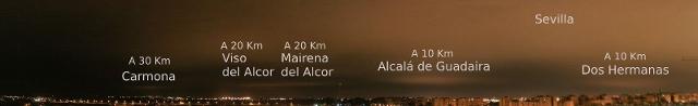 Contaminación lumínica de Sevilla y alrededores