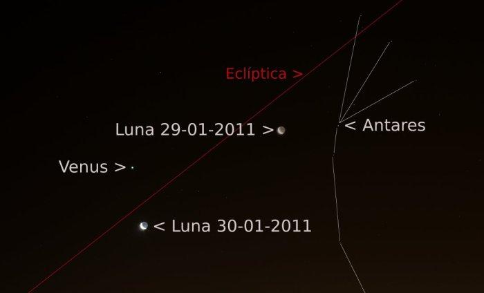 Luna y ecliptica 29 y 30 de enero de 2011