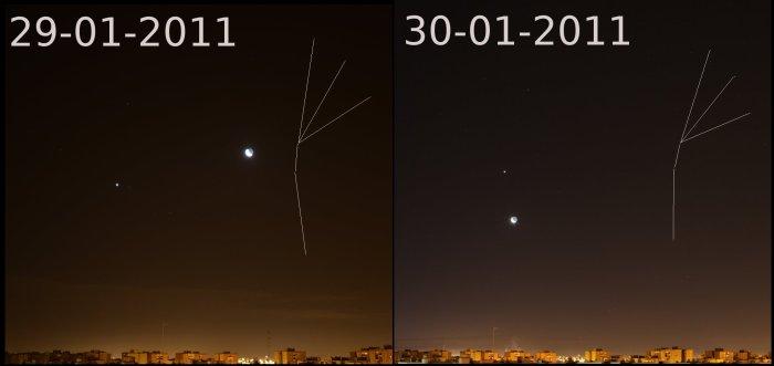Luna, Venus y pinzas del Escorpion, 29 y 30 de enero de 2011