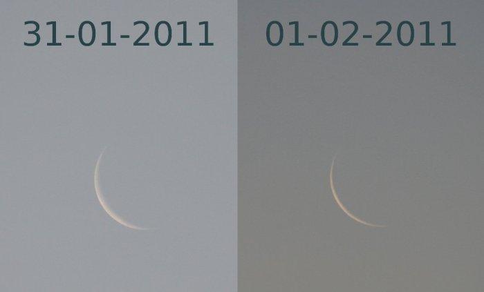 Fase menguante de la Luna, 31-01-2011 y 01-02-2011
