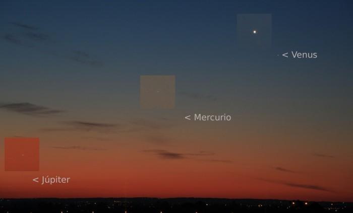 Venus, Mercurio y Jupiter, 28-04-2011