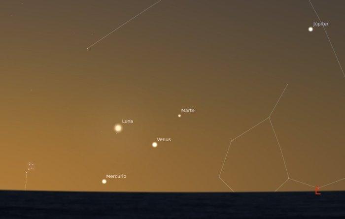 Conjuncion de planetas y la Luna, 31-05-2011