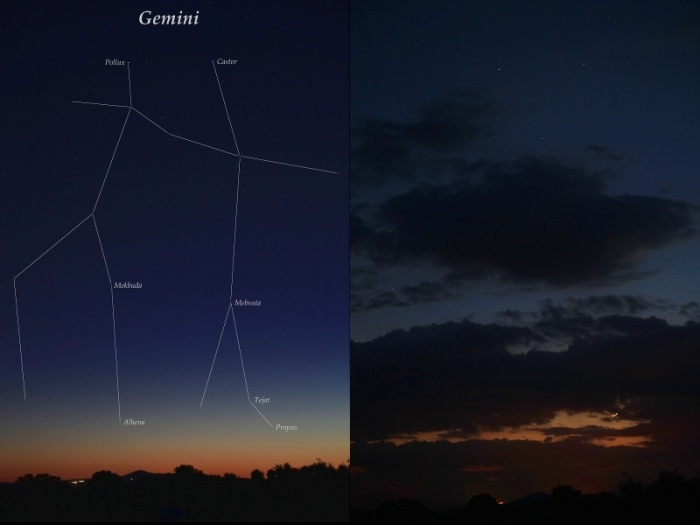 Geminis y Luna al atardecer, 2 y 3 de junio de 2011