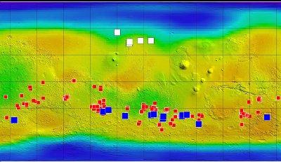 Mapa de las evidencias de agua en Marte