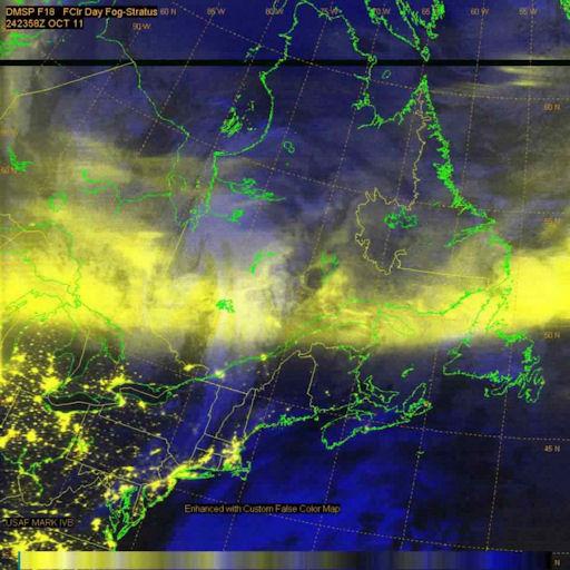 Aurora en Canada y USA desde DMSP