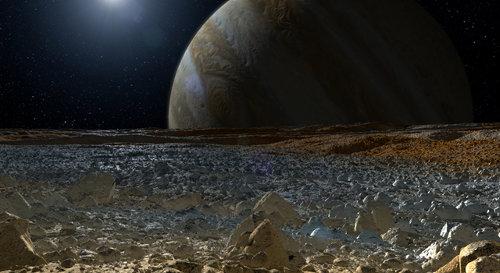 Superficie de Europa y Jupiter