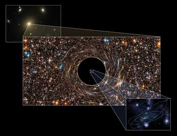 Agujero negro en el centro de una galaxia