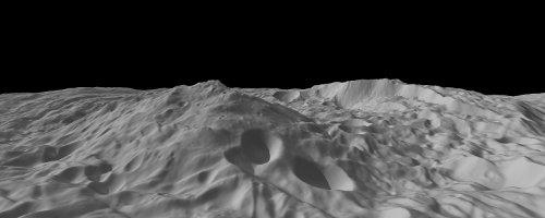 Montaña en el polo sur de Vesta