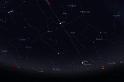 Ecliptica, Jupiter y Venus