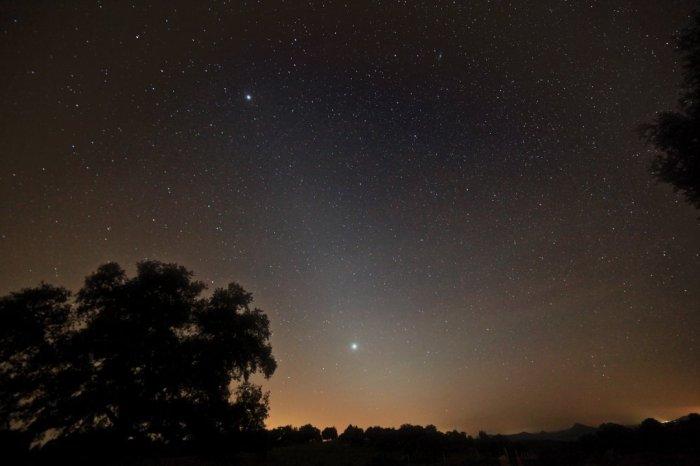 Júpiter, Venus y la Luz Zodiacal