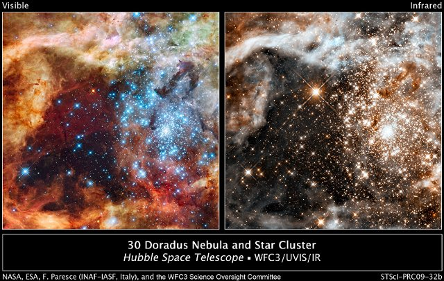 30 Doradus, nebulosa y cúmulo estelar