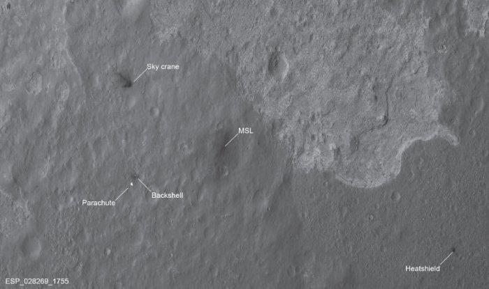 Lugar de aterrizaje de Curiosity anotado