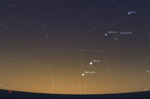 Stellarium: Conjunción al amanecer, 10-12-12