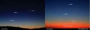 La Luna, Venus y Júpiter